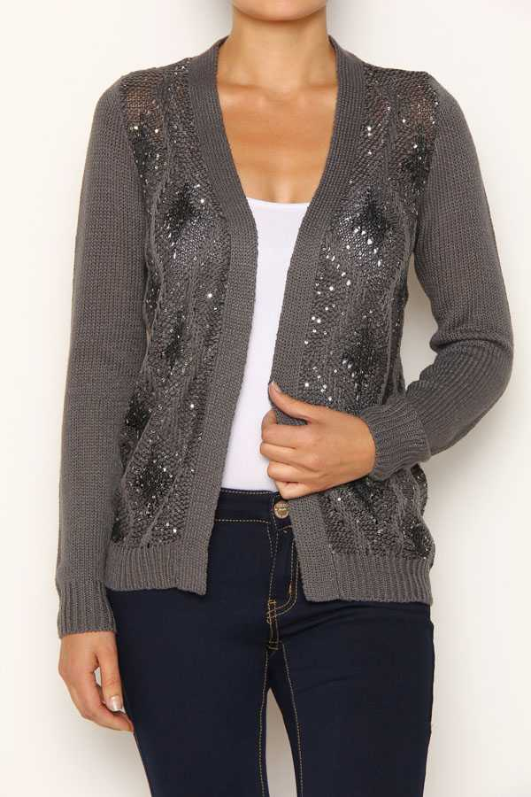 Open Knit Sweater Pattern : SEQUINCED DIAMOND PATTERN OPEN KNIT CARDIGAN