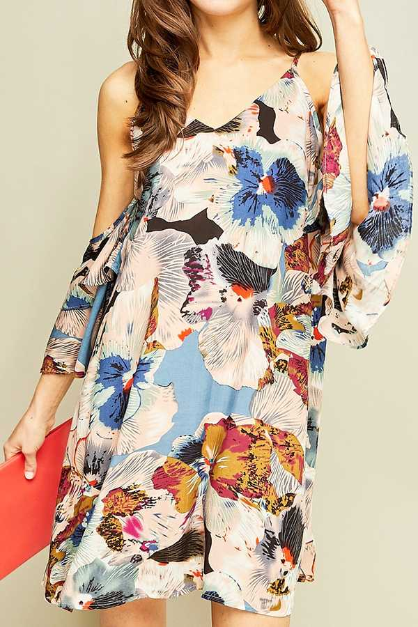 FLORAL PRINT OPEN-SHOULDER SHIFT DRESS