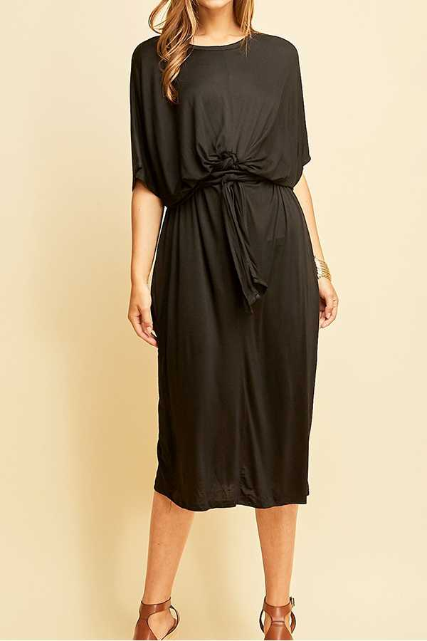 SOLID BAT WING SLEEVE ROUND-NECK SHIFT DRESS