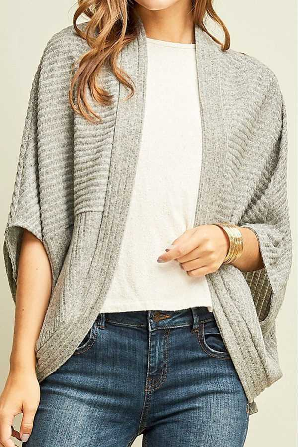 [PREORDER 8/24/18] STRIPED TEXTURED SHRUG CARDIGAN