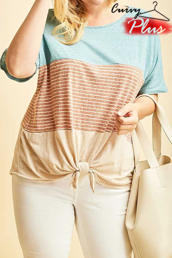 STRIPED COLOR-BLOCK SHORT SLEEVE TOP