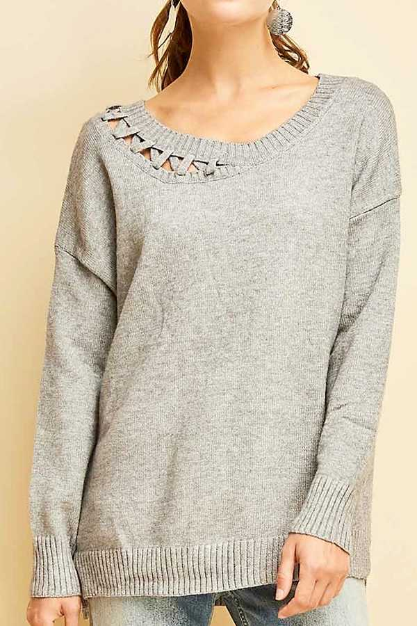 SOLID LONG SLEEVE SWEATER TOP