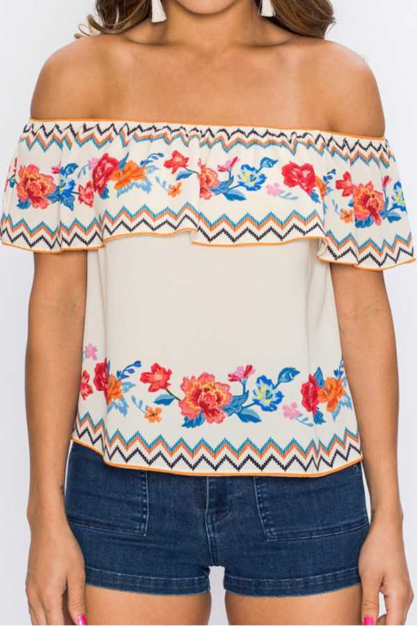 FLORAL PRINT OFF-SHOULDER TOP