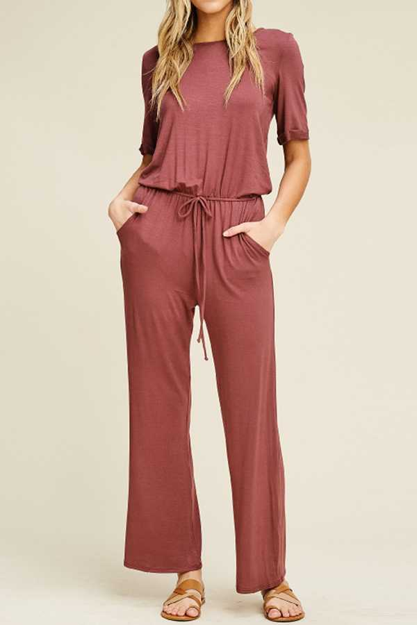 SOLID SHORT-SLEEVE JUMPSUIT