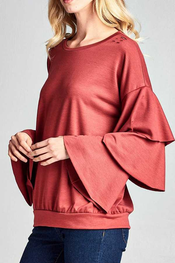 SOLID LAYERED RUFFLE SLEEVE SWEAT TOP