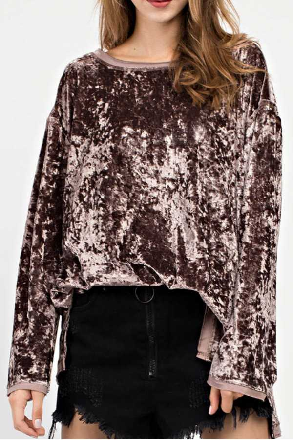SOLID VELVET LONG SLEEVE TOP