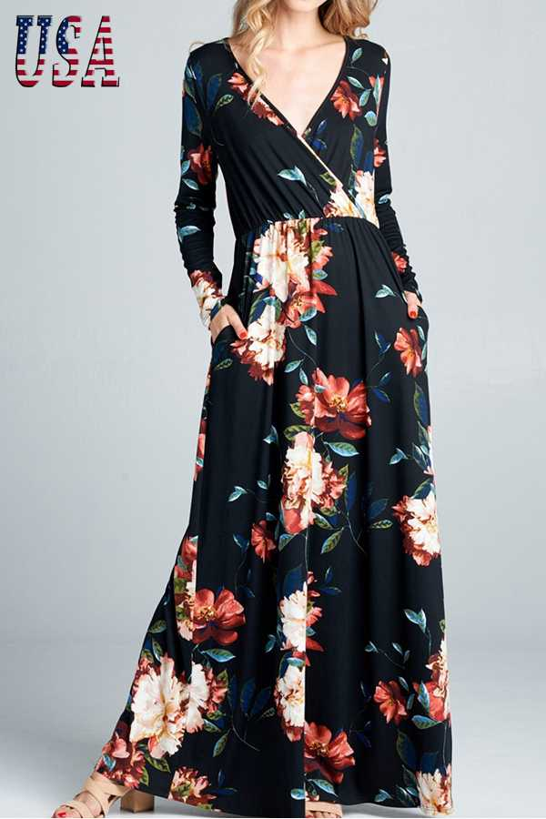 FLORAL PRINT SURPLICE LONG SLEEVE MAXI DRESS