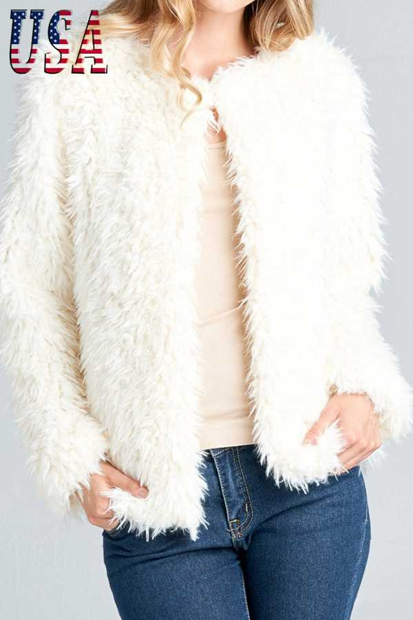 SOLID FAUX FUR CROPPED LONG SLEEVE JACKET
