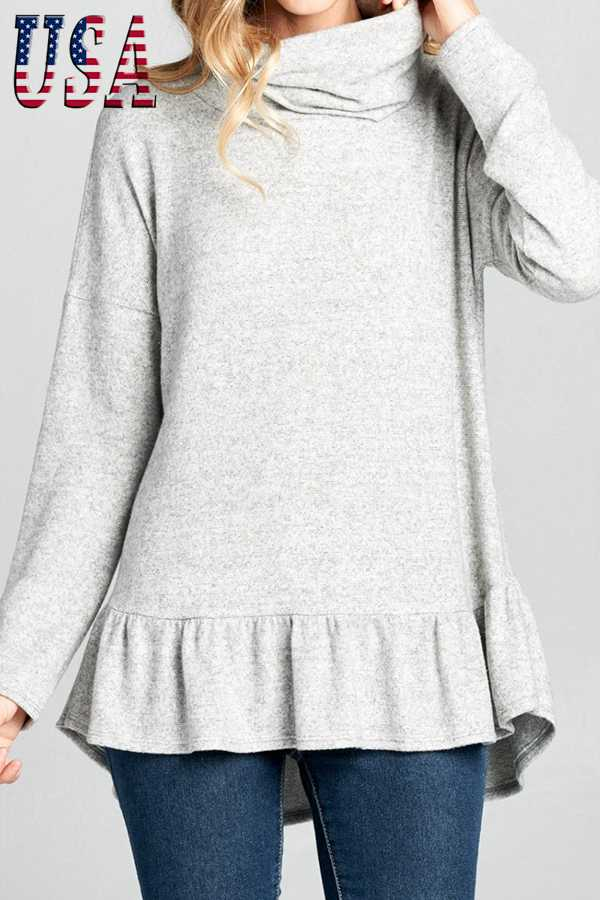 SOLID BRUSHED TURTLENECK RUFFLE HEM TOP