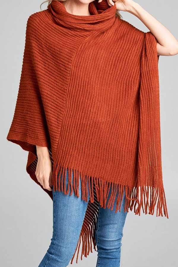 SOLID RIBBED KNIT COWL-NECK PONCHO