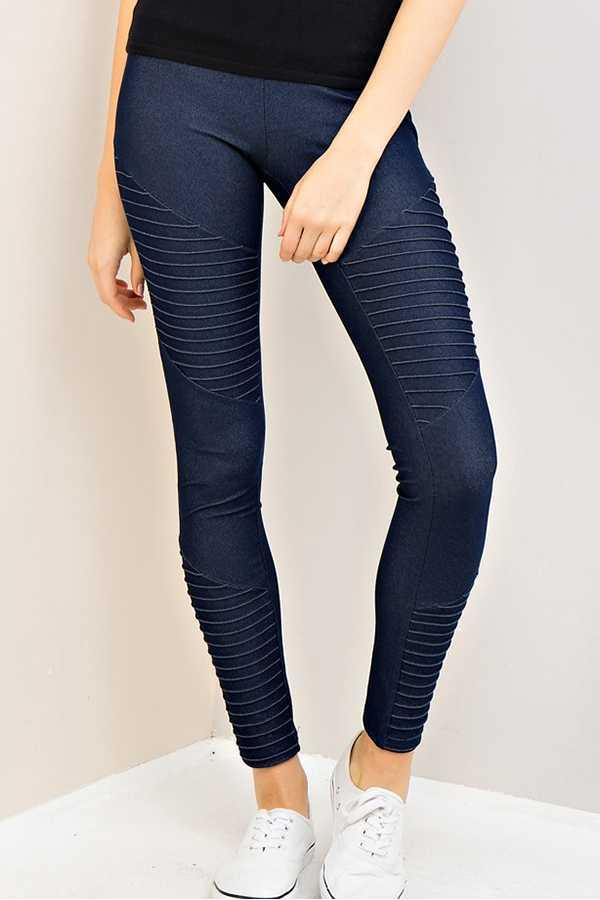 SOLID HIGH WAIST JEGGING PANTS