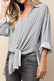 STRIPED PRINT SHIRT TOP