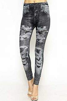 DENIM PRINT LEGGINGS