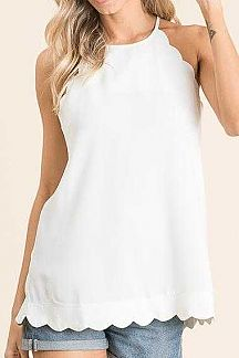 SOLID SCALLOPED EDGE DETAIL HALTER NECK TOP