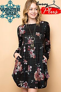 FLORAL & PLAID PRINT FIT & FLARE DRESS
