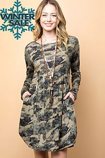 CAMOUFLAGE PRINT FIT & FLARE DRESS
