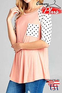 SOLID AND POLKA DOT PRINT SLEEVES TOP