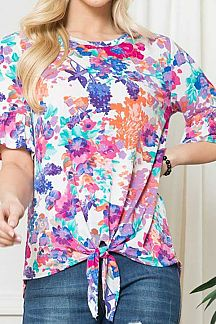 FLORAL PRINT RUFFLE SHORT SLEEVE KNI TOP