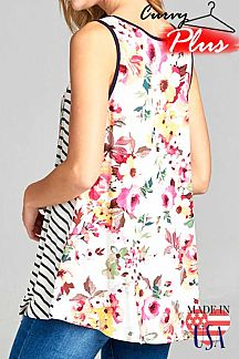 STRIPE AND FLORAL PRINT SLEEVELESS TOP