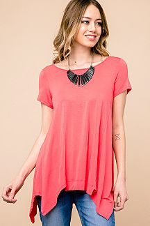 SOLID HANDKERCHIEF TUNIC TOP