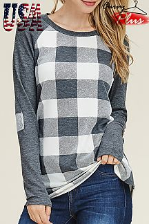 PLAID PRINT RAGLAN TOP