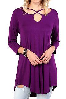 SOLID CRISS-CROSS TUNIC TOP
