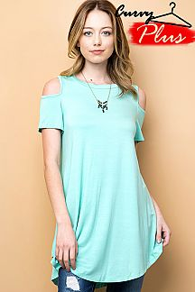 SOLID MODAL COLD SHOULDER TUNIC TOP