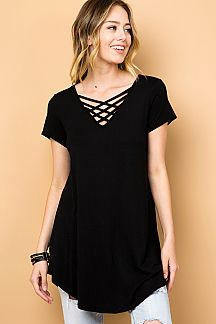 SOLID V-NECK CRISS CROSS TUNIC TOP