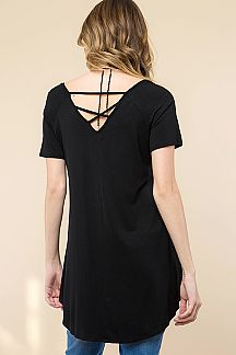 SOLID MODAL STRAPPY LOW BACK TUNIC TOP
