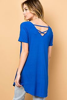 SOLID STRAPPY LOW BACK TUNIC TOP