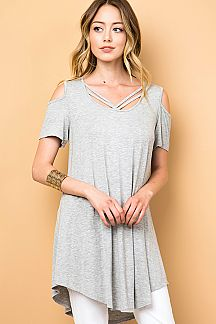 SOLID COLD SHOULDER TUNIC TOP