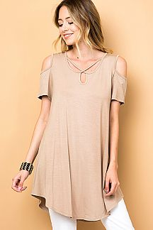 SOLID CRISS CROSS COLD SHOULDER TUNIC