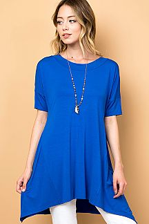 SOLID MODAL BANDED NECKLINE TUNIC TOP
