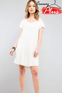 SOLID COLD SHOULDER CUTOUT V-NECK SPAGHETTI STRAP TUNIC DRESS