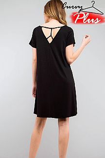 SOLID SCOOP NECK LATTICE BACK TUNIC DRESS