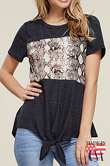 ANIMAL PRINT SHORT-SLEEVE TOP