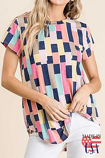 COLOR BLOCK SHORT SLEEVE KNIT TOP