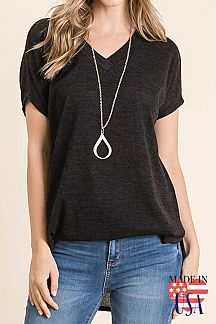 SOLID SHORT SLEEVE TUNIC TOP