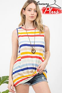 MULTI STRIPED SLEEVELESS FRONT KNOT TOP