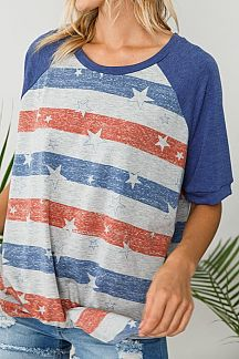 AMERICAN FLAG PRINT KNIT BOXY TOP