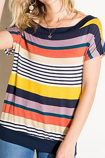 MULTI STRIPE OFF SHOULDER TOP