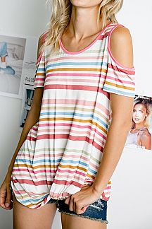MULTI STRIPE COLD SHOULDER TOP