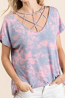 TIE DYE CRISSCROSS V NECK KNIT TOP