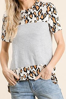 LEOPARD PRINT ANS PINSTRIPED SHORT SLEEVE TOP