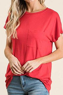 SOLID SHORT SLEEVE KNIT TOP