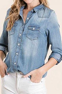 SOLID LONG ROLL UP SLEEVE DENIM TOP