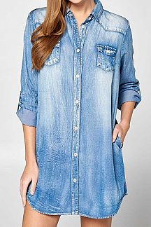SOLID LONG POLL UP SLEEVE DENIM DRESS