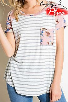 FLORAL PRINT ACCENT STRIPED KNIT TOP