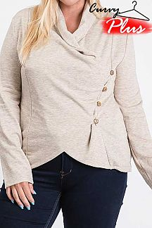 SOLID LONG SLEEVE BUTTON DOWN CARDIGAN
