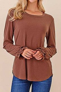 SOLID RUFFLE DETAIL LONG SLEEVE TOP